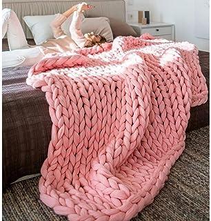 LICHUXIN Couvertures faites à la main en laine épaisse tricotée chaude et épaisse - Couverture moderne pour canapé, lit, t...