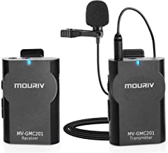 MOURIV MV-GMC201 2.4G Wireless Lavalier Microphone System Compatible with iPhoneX 8 8 Plus 7 6 Smartphone,Canon 6D 600D Nikon D800 D3300 Sony A7 A9 DSLR GoPro Hero4 Hero3 Hero3+ Action Cameras