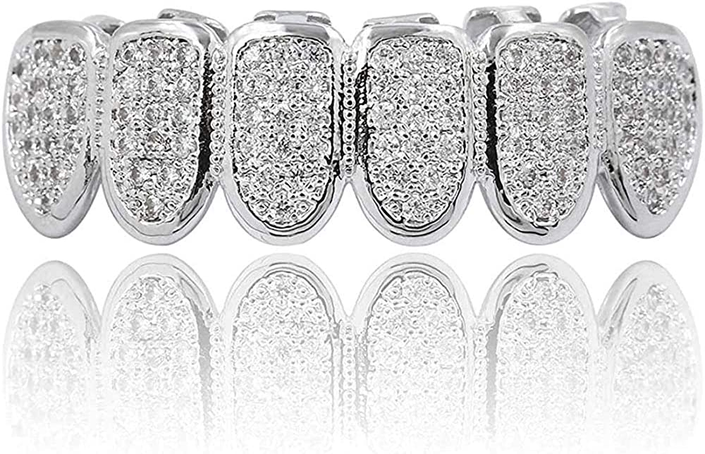 canjoyn 18K Silver Max 65% OFF Plated Hip Hop In stock Mic CZ All Teeth Grillz Stones