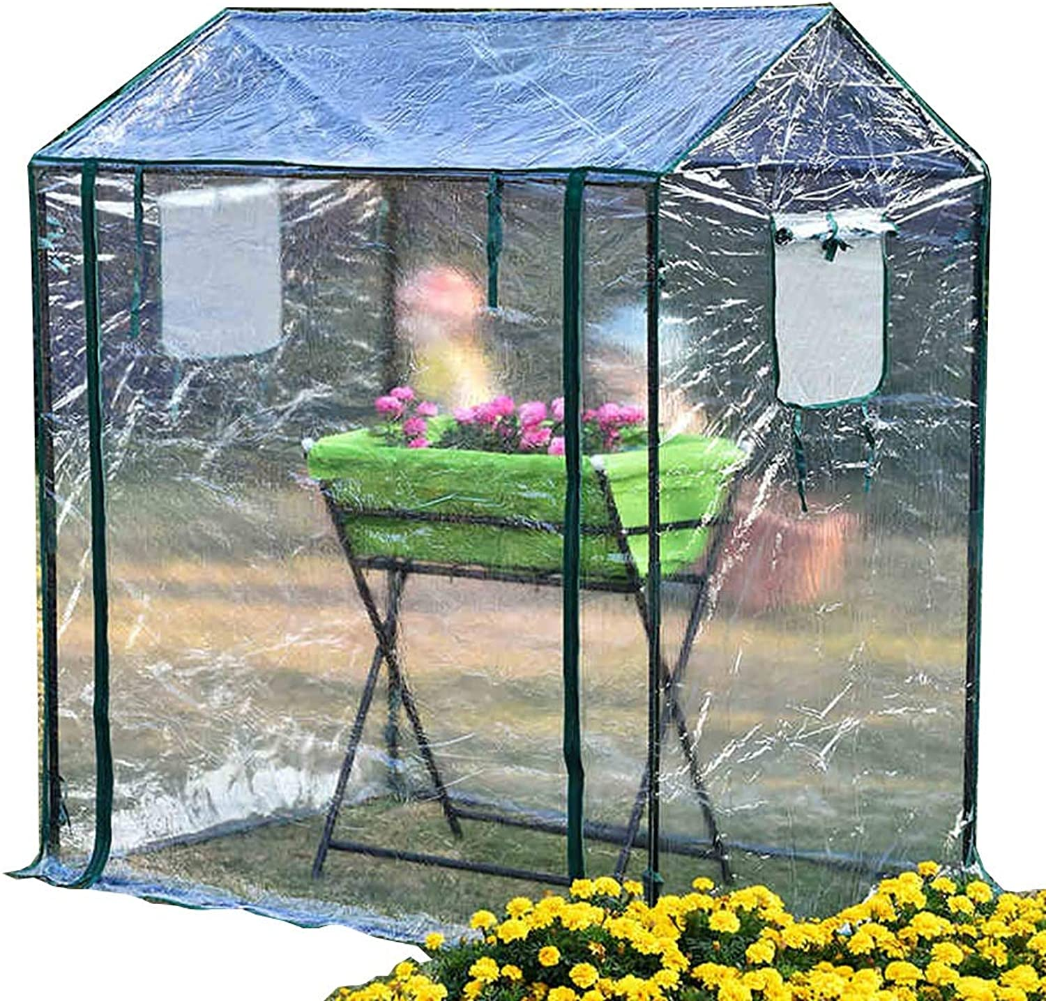 LIZIWS Greenhouse flower house family sprouts planting rack PVC transparent cover 125  85  150cm, 2 windows