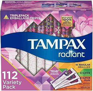 Tampax Radiant Plastic Tampons, Regular/Super/Super Plus Absorbency Triplepack, 112 Count, Unscented (28 Count, Pack of 4...