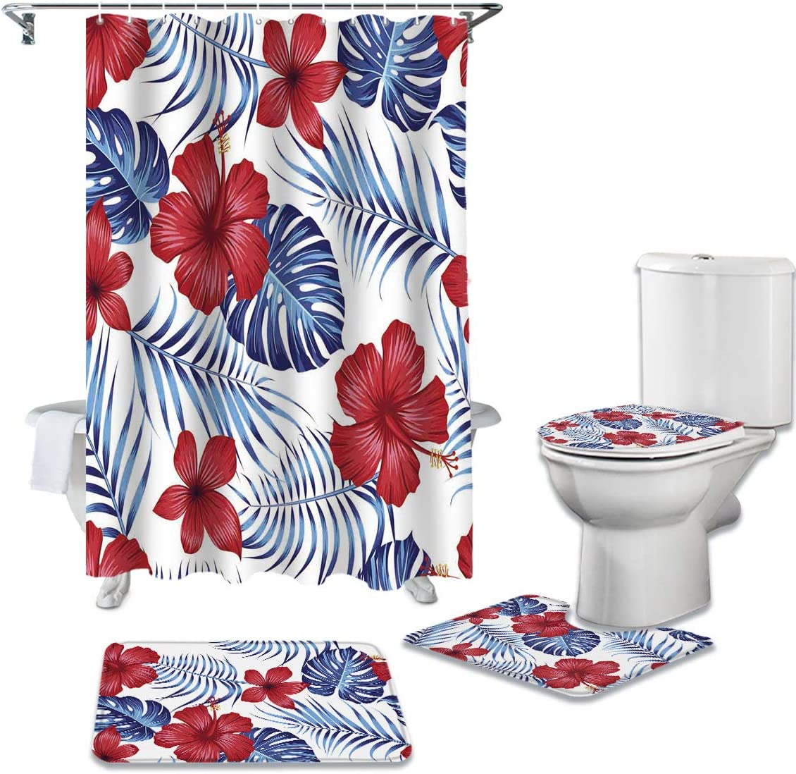 CHARMHOME 4 Piece Shower Curtain Non-Slip with Rug Toilet Sets Max Ranking TOP10 44% OFF