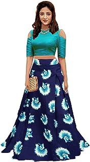 6e0ab67dc2 SR-Fashion Women's Semi-Stitched Banglori Satin Lehenga Choli (blue gulabo,  Turquoise