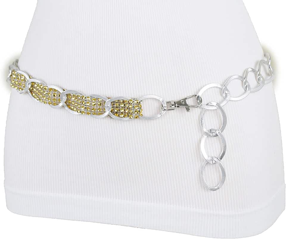 TFJ Women Dressy Fashion Elegant Belt Silver Metal Chain Links Gold Beads Band XS S M