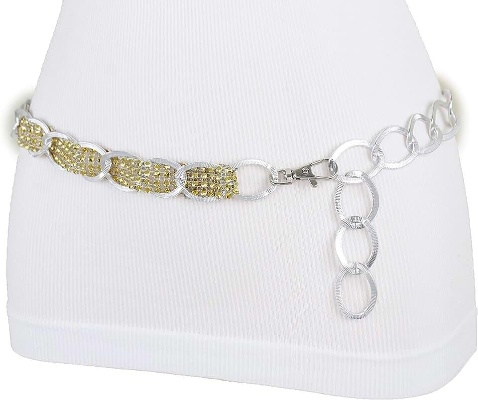 TFJ Women Dressy Fashion Elegant Belt Silver Metal Chain Links Gold Beads Band XS S M