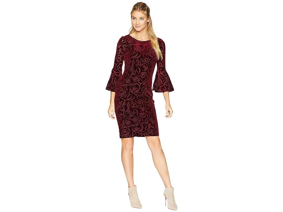 Calvin Klein Rose Print Bell Sleeve Velvet Dress CD8V433E (Rosewood) Women
