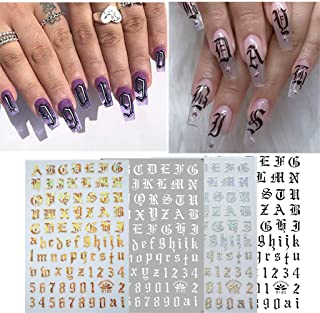 Fan-Ling Ultra Thin Black And White Gold And Silver Nail art Supplies Nail Gummed Sticker,Finger Nail Art Decals Stickers,for parties, study, holidays, weddings, daily life (A:4PCS)