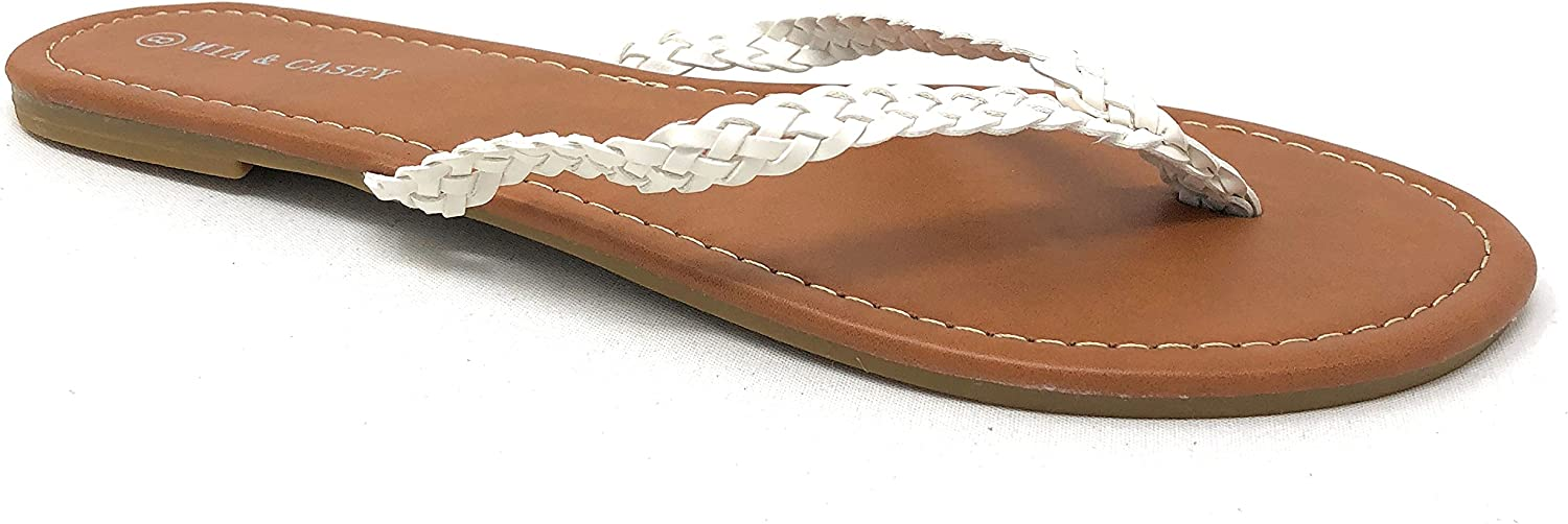 Mia & Casey Braided Thong Flip-Flop Sandals