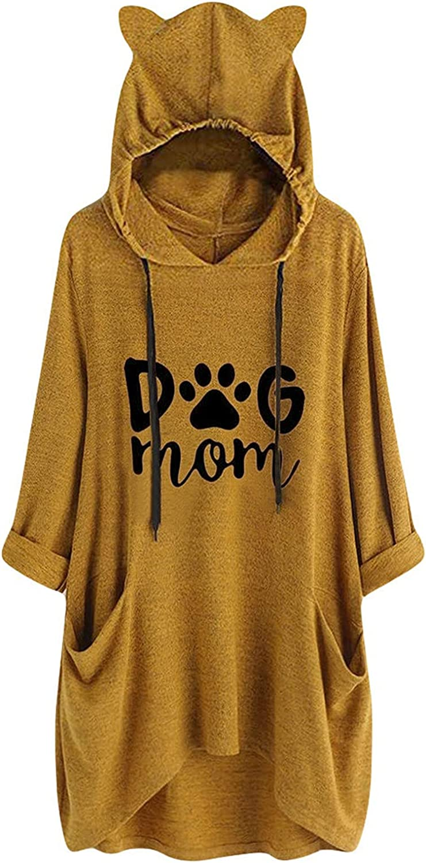 Cute Dog Mom Letter Print Ladies Pullovers Sweatshirts Women Knit Long Hoodies Spring Autumn Girls Woman Pink Tops