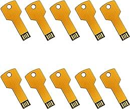 Lot 10 USB Flash Drive 4GB Memory Pen Stick Wholesale Key Shape Bulk Pack (4GB, Gold)