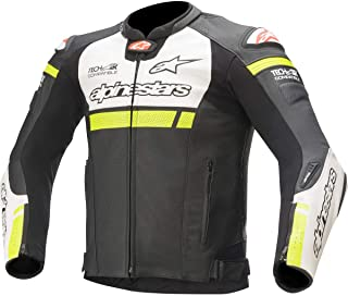 Alpinestars Men's Missile Igntion Leather Motorcyle Jacket Tech-Air Compatible, Black/White/Yellow, 52