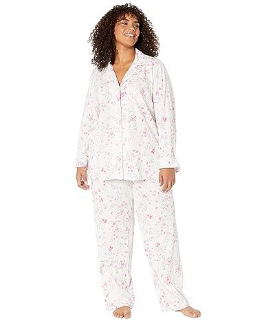 LAUREN Ralph Lauren Plus Size Cotton Jersey Knit Notch Collar Long Pants PJ Set (Pink Floral) Women