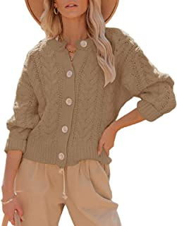 Womens Long Sleeve Open Front Cardigan Sweaters Cable...