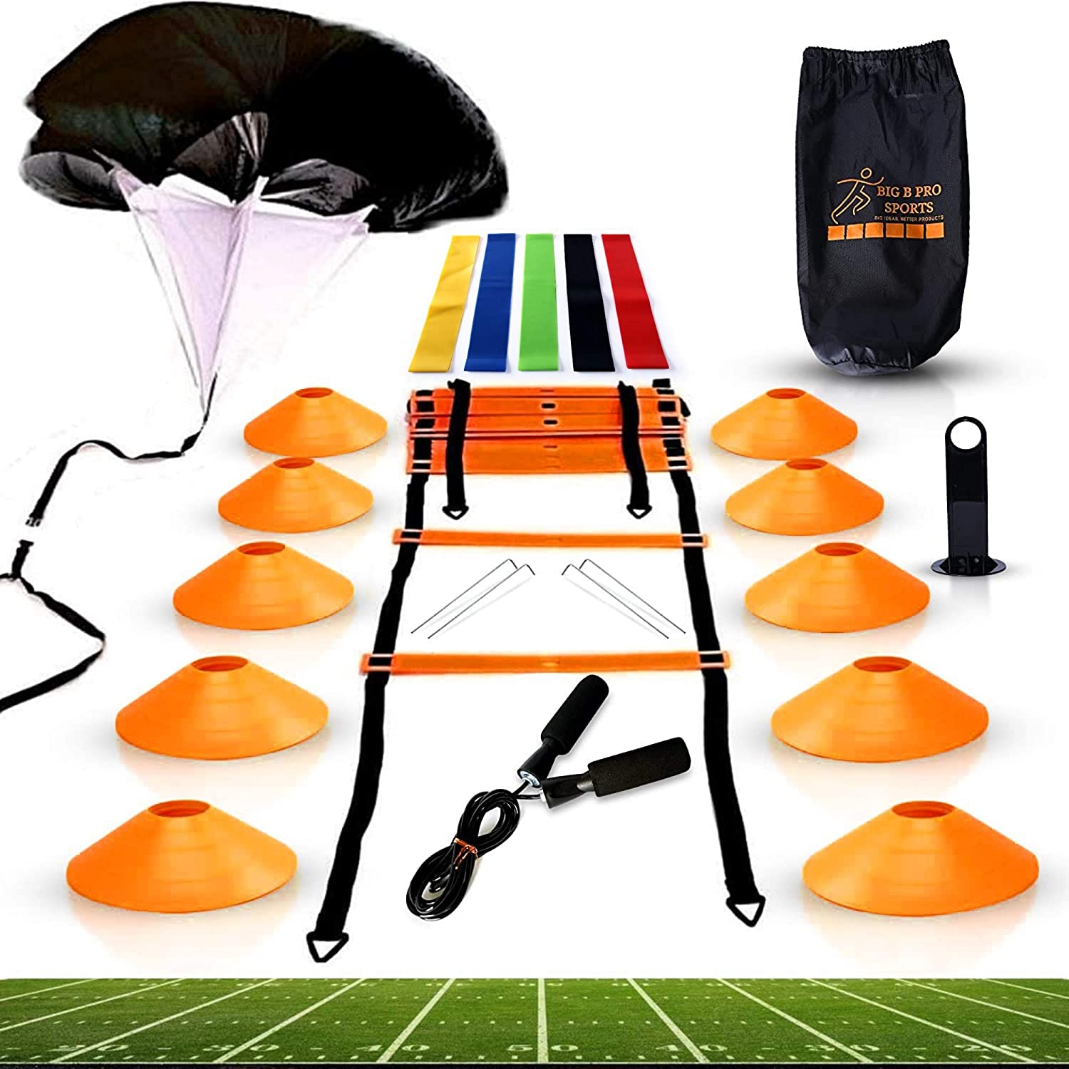 Big B Pro Sports Speed Agility Training Set - Includes Ladder, 10 Cones with Holder, Running Parachute, Jump Rope, Resistance Ba
