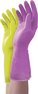 Mr. Clean Duet, Natural Latex, Beaded Cuff, Cotton Flock Lining, Non-Slip Grip Gloves, Small