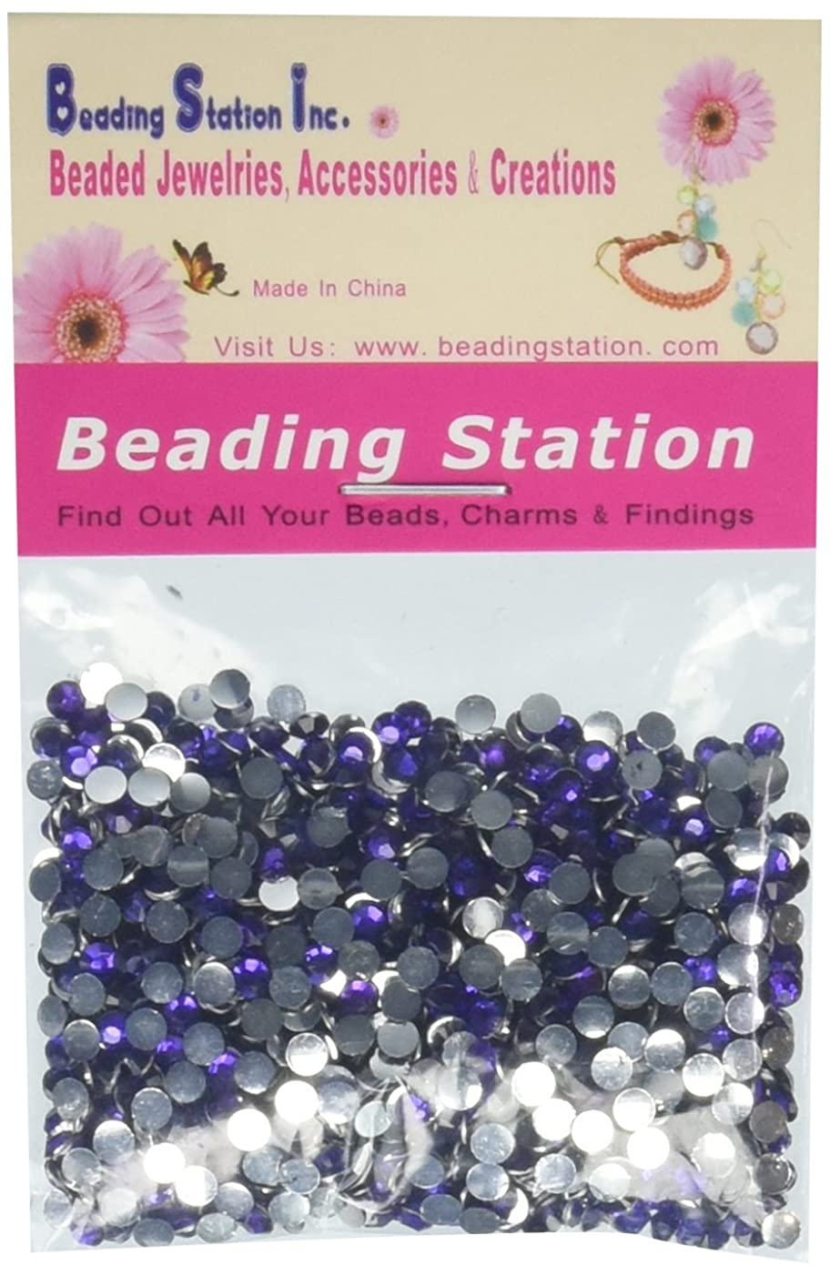 Beading Station 1440-Piece Flat Back Brilliant 14-Cut Round Rhinestones, 3mm-10ss, Lavender Purple