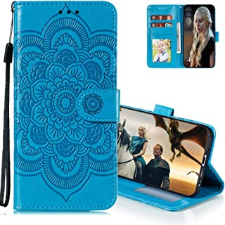 MEIKONST Case for Honor Play 4T Pro, Blue Mandala Embossing Luxury PU Leather Flip Wallet Bookstyle with Stand Card Holder...
