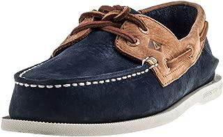 Two Tone 2 Eye Boat Shoe Navy & Tan