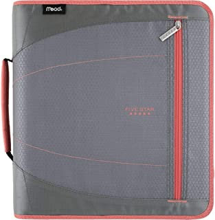 Five Star 2 Inch Zipper Binder, 3 Ring Binder, Removable File Folders, Durable, Gray/Bright Coral (29036IY8)