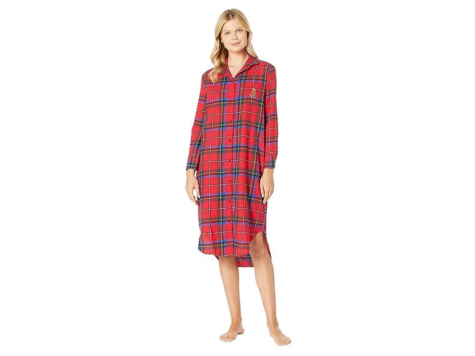 LAUREN Ralph Lauren Long Sleeve Ballet Length Sleepshirt (Red Plaid) Women