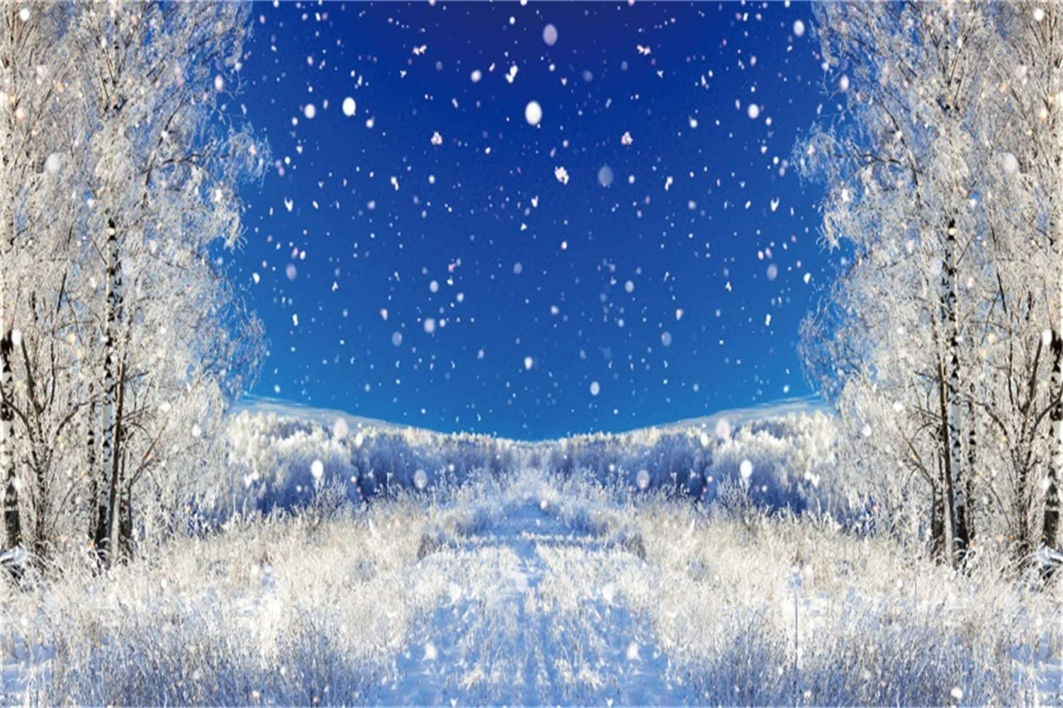 Winter Snowscape Backdrop 10x6.5ft Polyester Frosty Pine Trees Forest Remote Snowy Mountains Undefiled Snowfield Photography Background Winter Scenic Kids Baby Shoot Indoor Decors Wallpaper