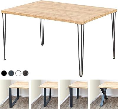 LAMO Manufaktur Table de Bureau, Table à Manger 138x100x76 cm (Long. x Haut. x larg.), Bois mélaminé, Creative, Chêne doré, Noir