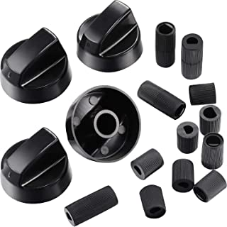 4 Pack Black Control Knobs Replacement with 12 Adapters for Oven/Stove/Range, Wide Application