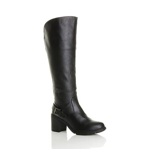 500906c78866 Ajvani Womens ladies block chunky high heel wide calf zip stretch biker knee  boots size