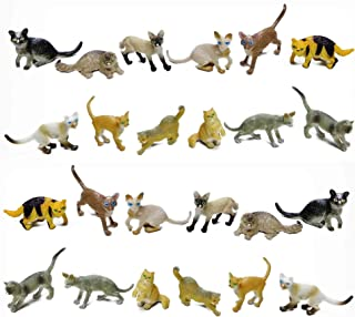 Fun Central 24 Pieces - Mini Cat Toy Figures Bulk Party Favors and Cake Toppers - Assorted Pack