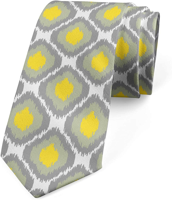 Ambesonne Men's Tie, Vintage Abstract Rhombus, Necktie, 3.7