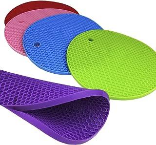 Dooppa - Juego de 5 tapetes de silicona antideslizantes, resistentes al calor, para soportes de ollas o multiusos