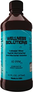 Colloidal Silver - Wellness Solutions - Colloidal Silver Liquid - All Natural Antibiotic - Immune Booster - Vegan and Gluten Free -16 fl. oz