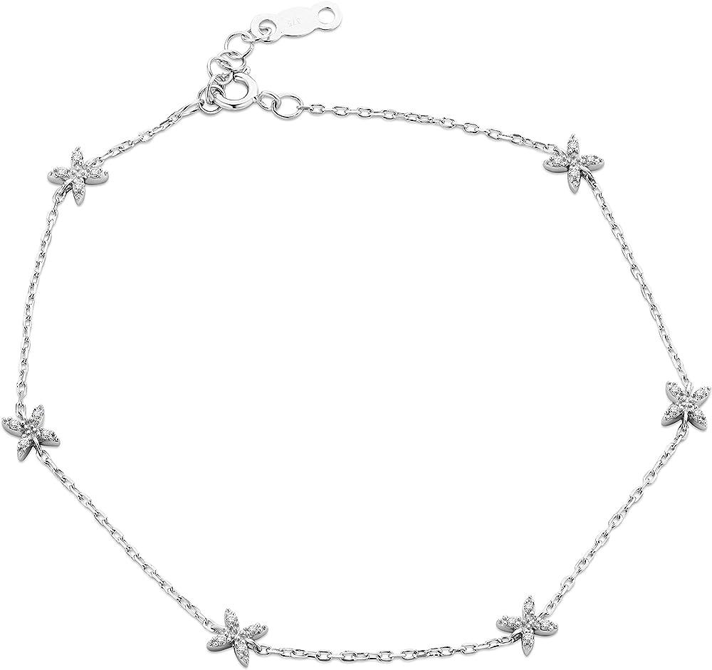 Orovi, bracciale da donna in oro bianco 9 kt/375 (0,96 gr), con diamanti taglio brillante ct 0.07 OR81218B