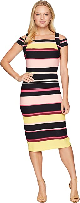 Cold Shoulder Stripe Crepe Scuba Dress