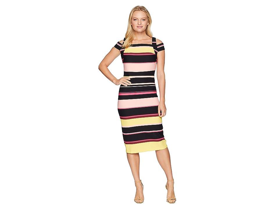 eci Cold Shoulder Stripe Crepe Scuba Dress (Black/Blush) Women