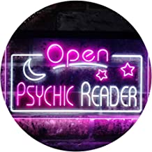 Psychic Reader Open Moon Star Room Décor Dual Color LED Neon Sign White & Purple 600 x 400mm st6s64-i3204-wp