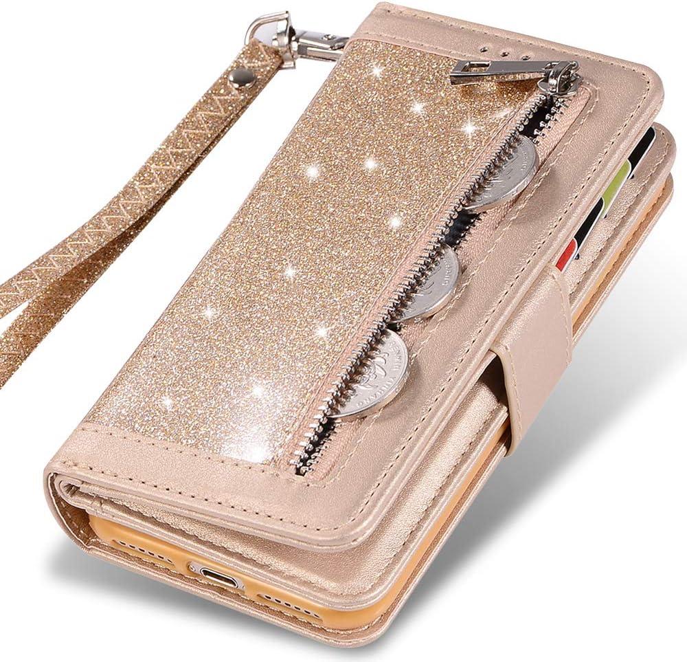 iPhone 7 Plus Card Holder Case,iPhone 8 Plus Wallet Case,Kudex Bling Glitter Flip Leather Zipper Money Pocket Magnetic Purse Case [Kickstand] with 9 Card Holder&Strap for iPhone 7Plus/8Plus (Gold)