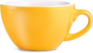 LOVERAMICS Egg Style Cappuccino Cup and Saucer, 200ml (6.7 oz) (Yellow, 2)