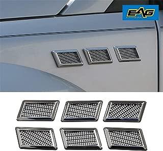 EAG E-Autogrilles Car Universal Chrome Rectanglar Style Air Flow Fender Side Vents Decoration (6PCS) (61-0207)