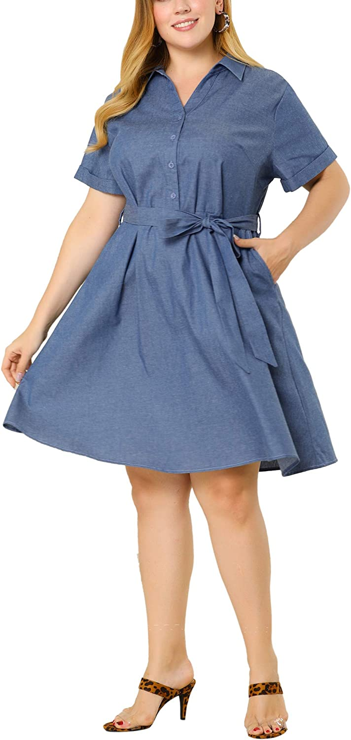 Albuquerque Mall Agnes Orinda Plus Size Denim Dresses Weekly update Belted Sh for Women Buttons