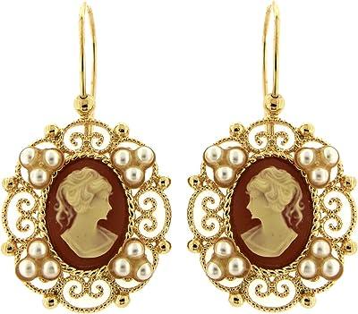 Orecchini Pendenti Vintage - in Ottone con Oro 24 KT - Fatto a Mano in Toscana, Made in Italy - Cammeo Centrale Rosa e piccole Perle Avorio