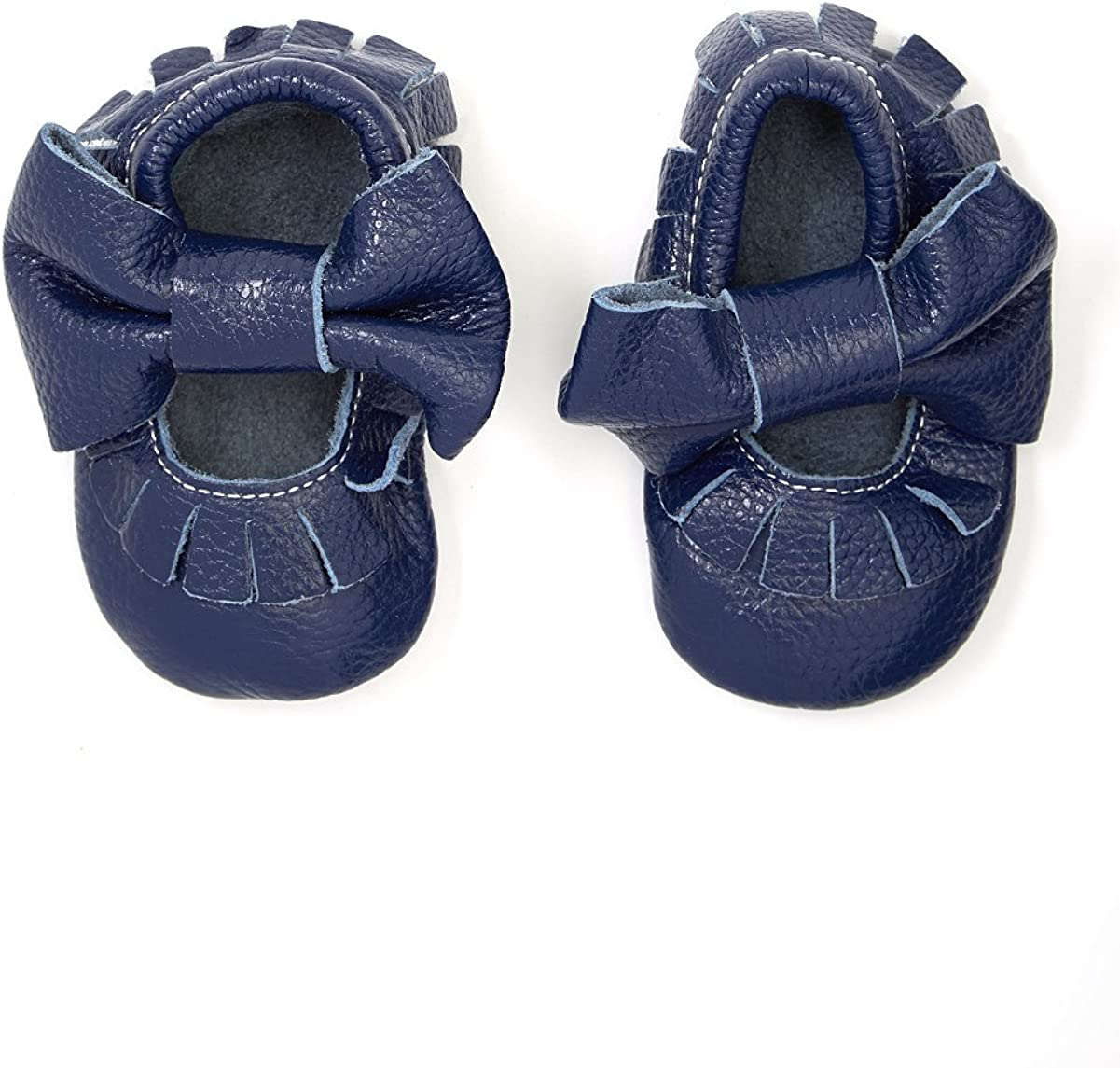 KHYKOUTURE Unisex-Child Navy Blue Mary Jane Moccasin Booties