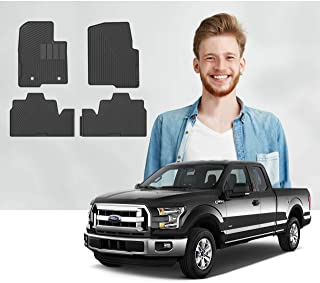 Road Comforts Custom Fit Ford F150 2010-2014 SuperCab Car Floor Mats - Digitally Laser Measured & Made with Premium TPE Heavy Duty Thick Material - Front and Second Row (4pcs) (Black) (No Subwoofer)