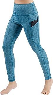 ODODOS High Waist Out Pocket Yoga Pants Tummy Control Workout Running 4 Way Stretch Yoga Leggings Black
