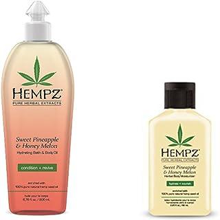 Hempz Sweet Pineapple & Honey Melon Set- Bath & Body Oil 6.76 Oz, Body Lotion 2.25 Oz Set, 6.76 Oz