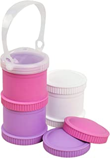 Re-Play Made in The USA 7 Piece Stackable Food and Snack Storage Containers for Babies, Toddlers and Kids of All Ages - White, Bright Pink, Purple (Berry)