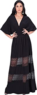 Womens Sexy Summer V-Neck Half Sleeve Layered Lace Maxi Dress