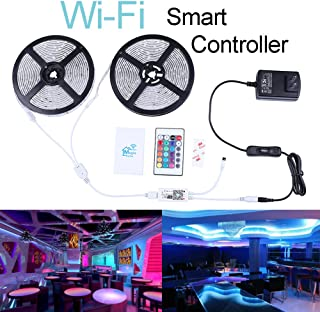 Miheal WiFi Wireless Smart Phone Controlled Led Strip Light Kit with DC12V UL Listed Power Supply Waterproof SMD 5050 32.8Ft(10M) 300leds RGB Music LED Light Strip Compatible with Android iOS Alexa