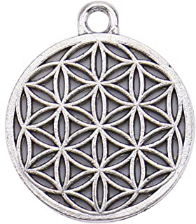 Monrocco 40pcs The Flower of Life Charms Pendant The Seed of Life Charms Antique Silver Charm for DIY Crafting Jewelry Making