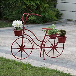 """Glitzhome Metal Standing Planter Hand Painted Flower Holder Fall Home Decor Red, 25.98"""" H"""